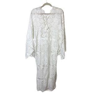 White Large Long Crocheted Kaftan/Cover Up